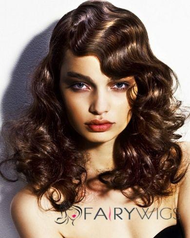 New Style Capless Medium Curly Brown Hair Wig