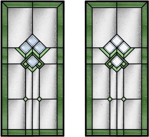 Kitchen Cabinets With Stained Glass: Craftsman Bevels - Stained Glass Doors