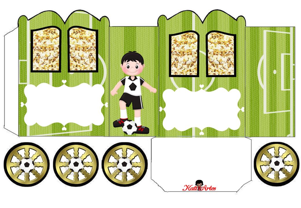 Popcorn Box---Futbol: Cajas con forma de Carruaje para Imprimir Gratis.