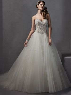 Sweetheart Princess Ball Gown Wedding Dress With Dropped Waist In Tulle Bridal Style
