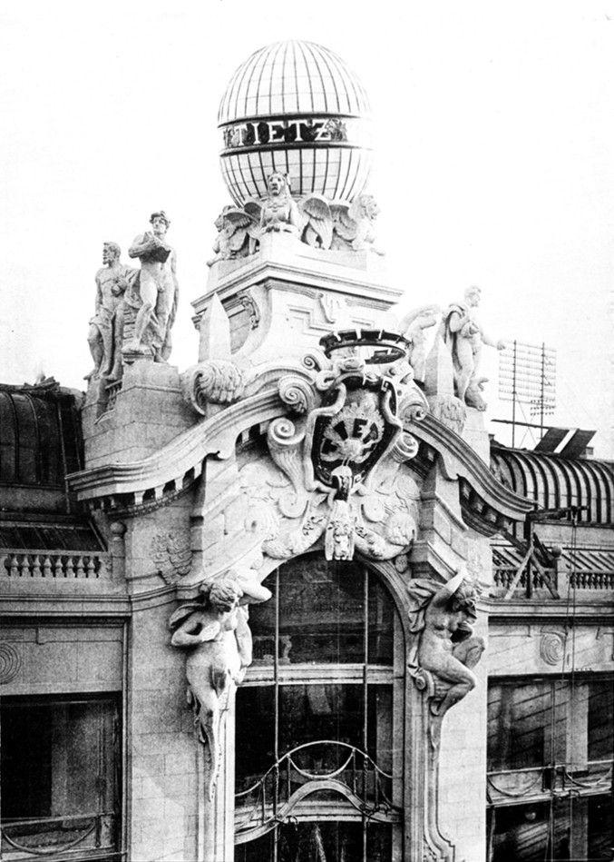Deutsch: Kaufhaus Tietz, Berlin, Leipziger Strasse, Hauptportal mit Globus, 1912