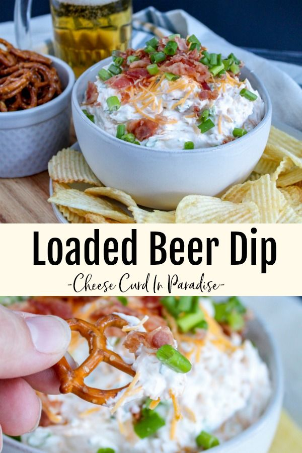 Loaded Beer Dip takes game day snacking to the next level. Creamy beer dip mixed with sharp cheddar