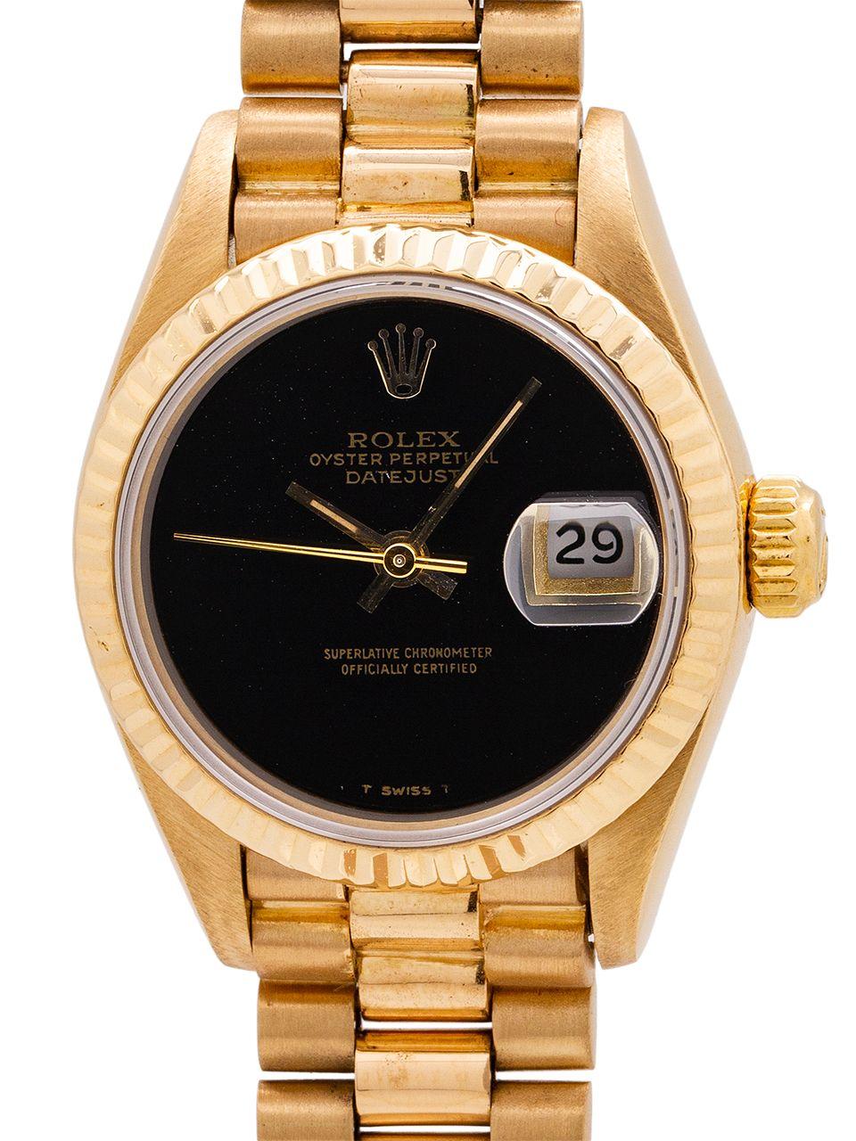 Rolex Lady Datejust President 18k Yg Ref 69178 Onyx Dial Circa 1985 Rolex Women Rolex Rolex Logo