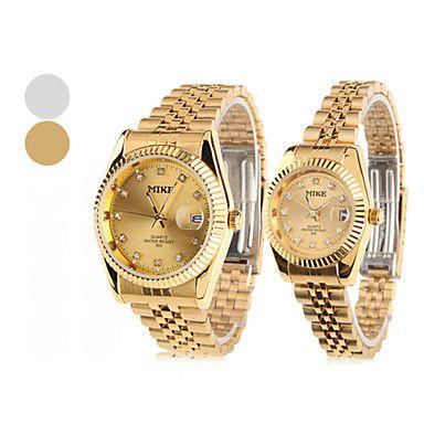 Diamante Reloj De Acero De La Pareja De Cuarzo Del Dial Del Analogo Pulsera 1 Par Colores Surtidos Clp 25 056 Wrist Watch Silver Watch Wrist