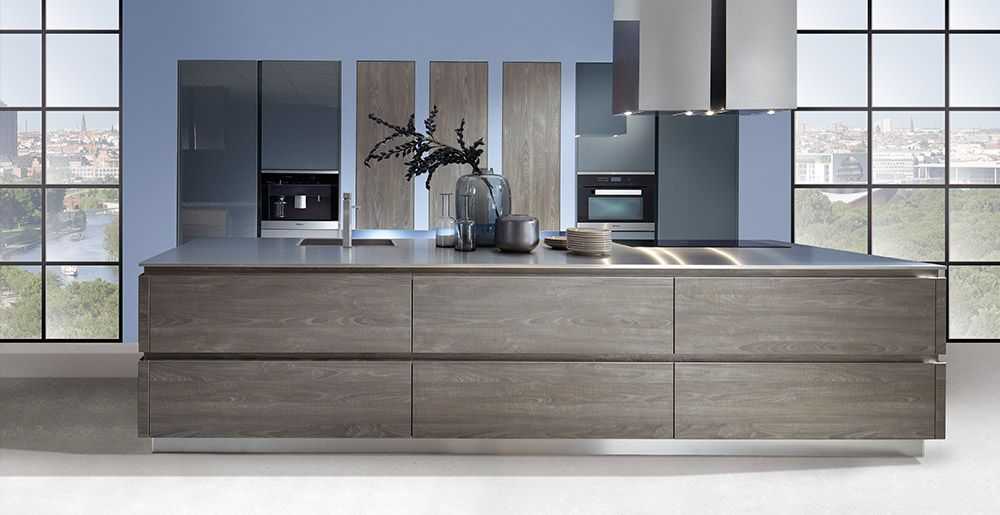 Schröder Küchen | Küche ohne Griffe | Sherwood H/V GLV cigar, Luce colored GLV blaugrau