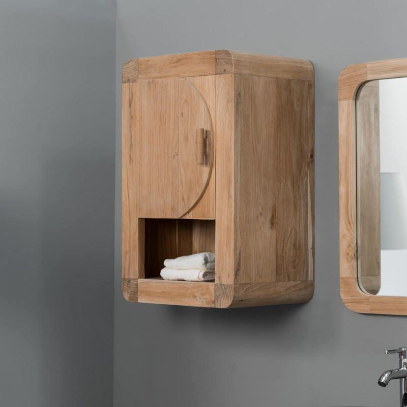 Meuble De Salle De Bain Armoire De Toilette En Teck Retro 44cm