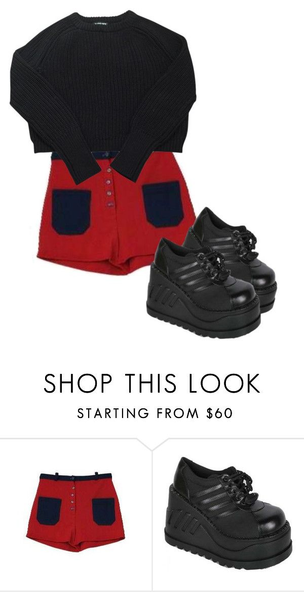 """""""Untitled #1036"""" by headshapes ❤ liked on Polyvore featuring Retrò, Demonia and American Apparel"""