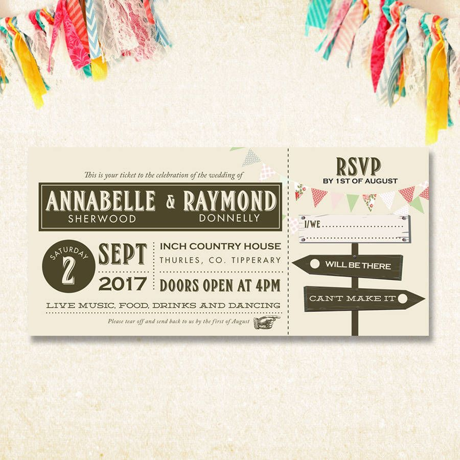 Festival Ticket Invitation  Beautiful Wedding Invitations Ticket