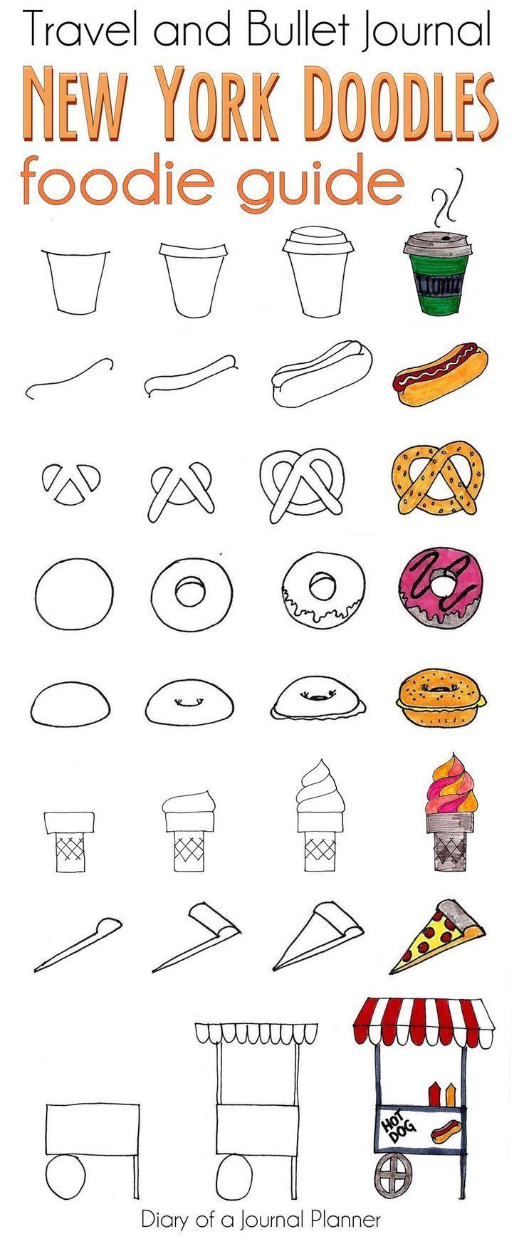 Nahrungsmittelgekritzel von NY für Reisejournal oder Kugeljournal. #doodles #il…