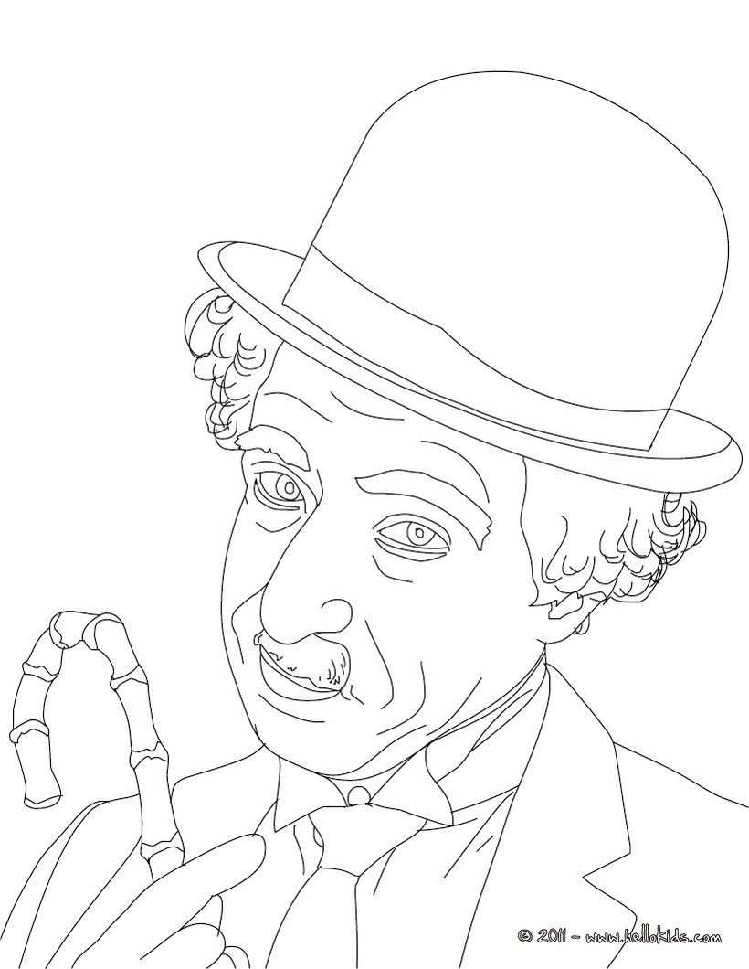 Sir charlie chaplin coloring page more famous people coloring sheets on hellokids com