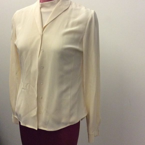 """Silk blouse, AT, 4 Ann Taylor Loft off white silk blouse size 4. Chest 18"""", length 22"""", fitted style Ann Taylor Tops Blouses"""