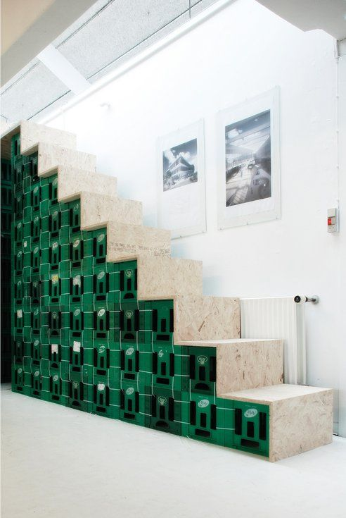Stairway Made From Milk Crates Hit Or Miss Milk Crate Furniture Milk Crate Storage Crate Furniture