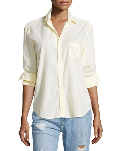 TC18H Frank & Eileen Eileen Button-Front Poplin Shirt, Yellow