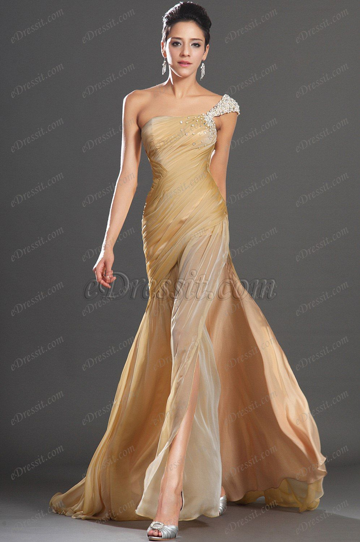 Edressit new gorgeous high slit one shoulder evening dress