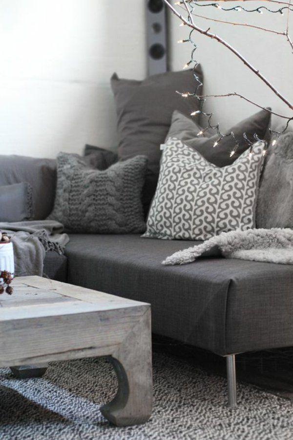 graue möbel elegant modern sofa dekokissen | ideen rund ums haus, Innedesign
