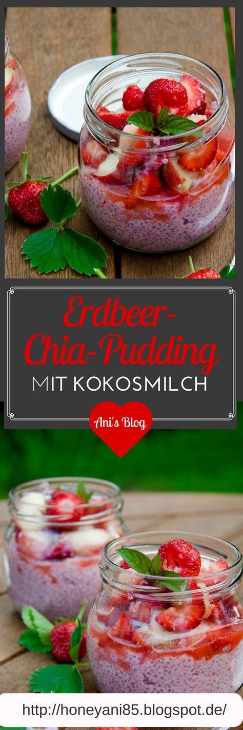Gesunder Chia-Pudding im Glas für Frühstück, Picknick oder Schwimmbad : Erdbeer Chia Pudding mit Pfirsich-Erdbeer Obstsalat | vegan