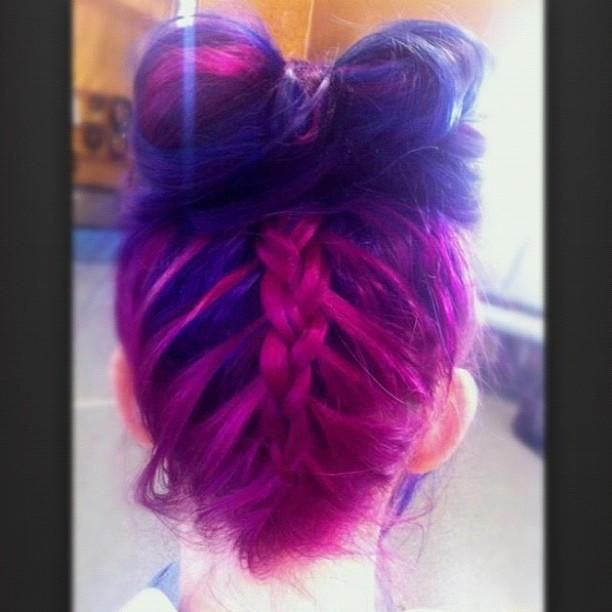 colorful hair into bow