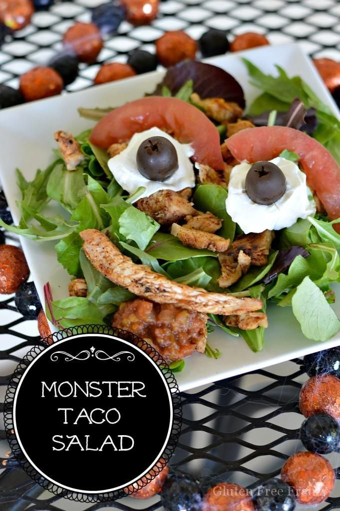 This easy monster taco salad is perfect for a Halloween dinner or - cheap halloween food ideas