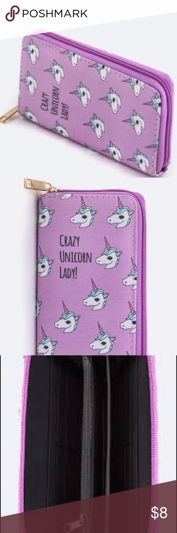 CRAZY UNICORN LADY WALLET  CRaZy UnICorn LaDY WALLET USED BUT GOOD CONDITION. ZIP AROUND WALLET. BUNDLE 2 OR MORE FOR 20% OFF ! LOOKS CUTE WITH THE BACKPACK I HAVE FOR SALE  ( THIS IS NOT BETSEY) Betsey Johnson Bags Wallets