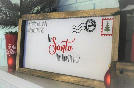 Letter to Santa wood sign Christmas decor Christmas | Etsy