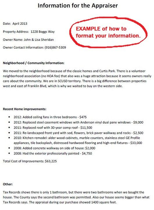 A printable information sheet to give to the appraiser during an - appraisal sheet