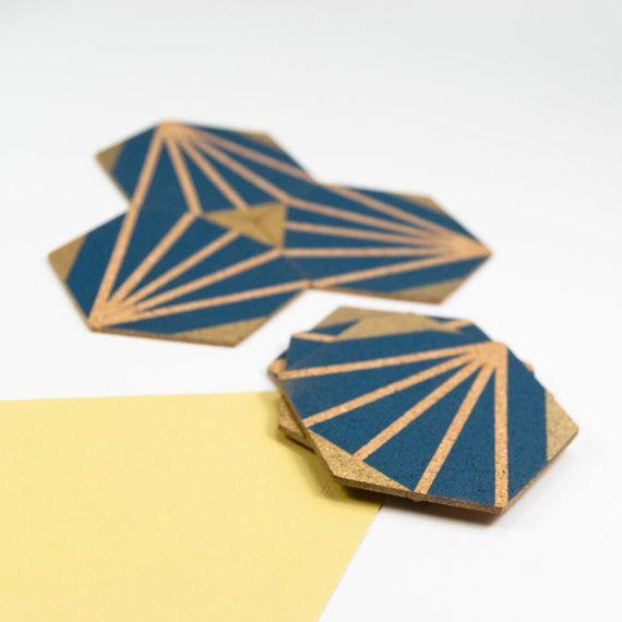 PARISIENNE Bleu//Blanc Sous-Verres-Set de 4 Coasters