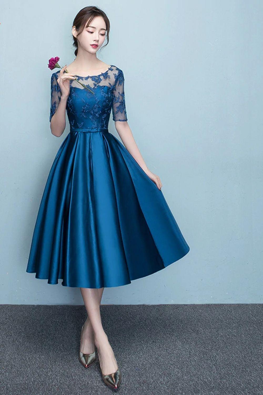 712a25f2c5 New Arrival 2019 Short blue Color Prom dress Elegant Party Women ...