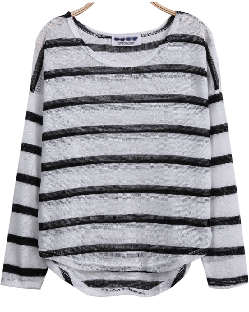 White and Black Striped Curved Hem Lightweight Sweater 16.00