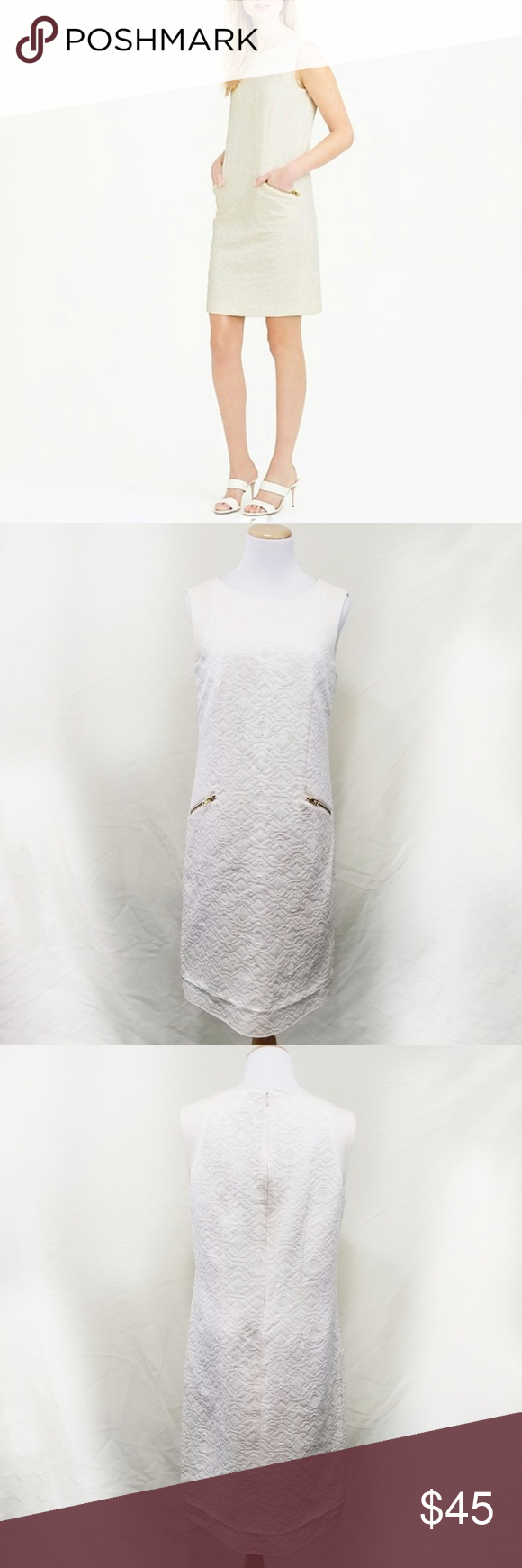203ffd71eb7 J. Crew tall jaquard shift dress ivory cream zip S J. Crew tall jaquard shift  dress. Ivory   cream diamond textured jaquard fabric. Double gold zipper ...