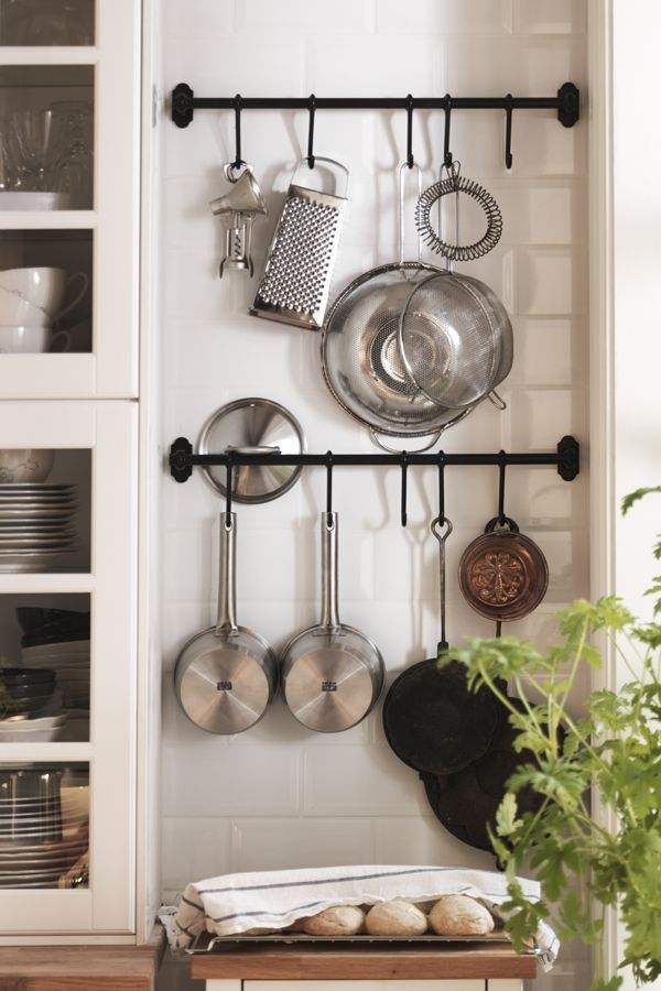 Short On Counter Space Wall Storage Can Fill In The Gap Create Your Own Solution With Hooks And Rails Kitchen Wall Storage Kitchen Wall Hangings Kitchen Wall