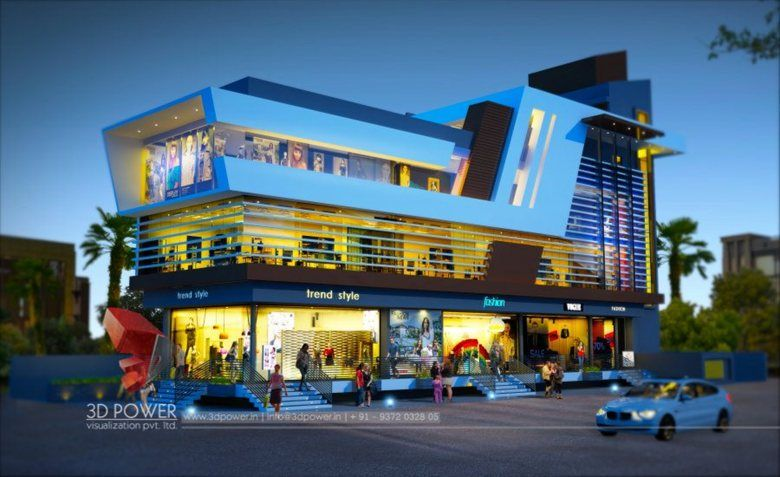 Exclusive 3d Shopping Mall Day Night Rendering Elevation Design By 3d Power Pictu Commercial Design Exterior Modern Architecture Building Building Design