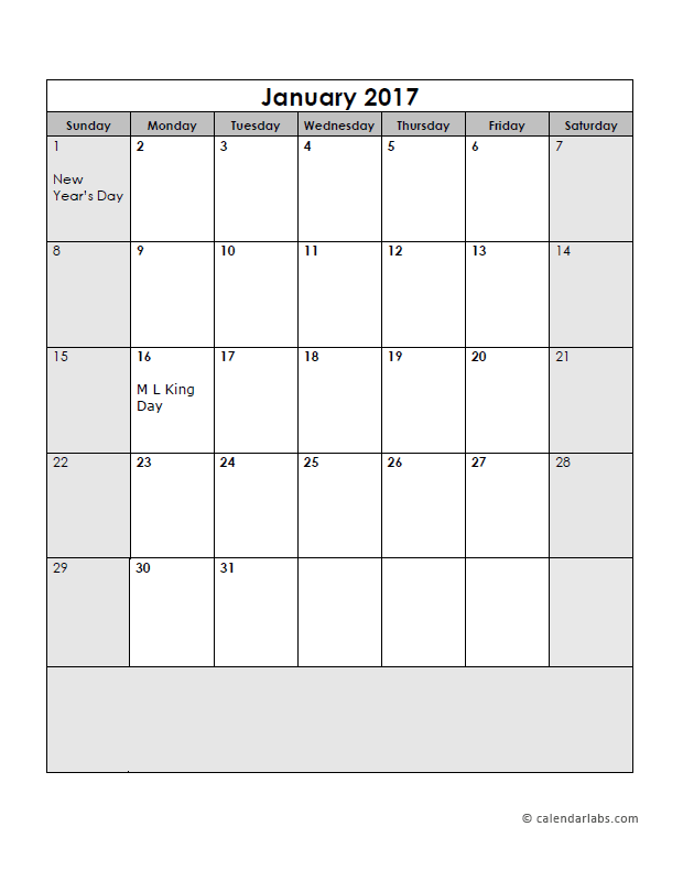 2017 Calendar Template Large Boxes Free Printable Templates
