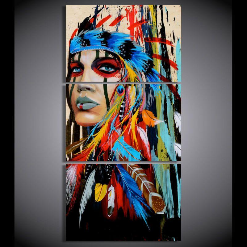 Frameless Indian Graffiti Acrylic Canvas Oil Painting Pop Wall Art Home Decor