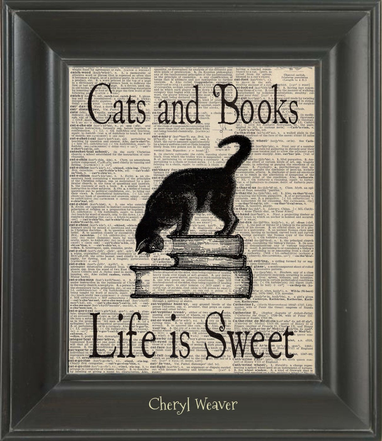 Life Is Sweet Upcycled Cat Art Dictionary Page Cat