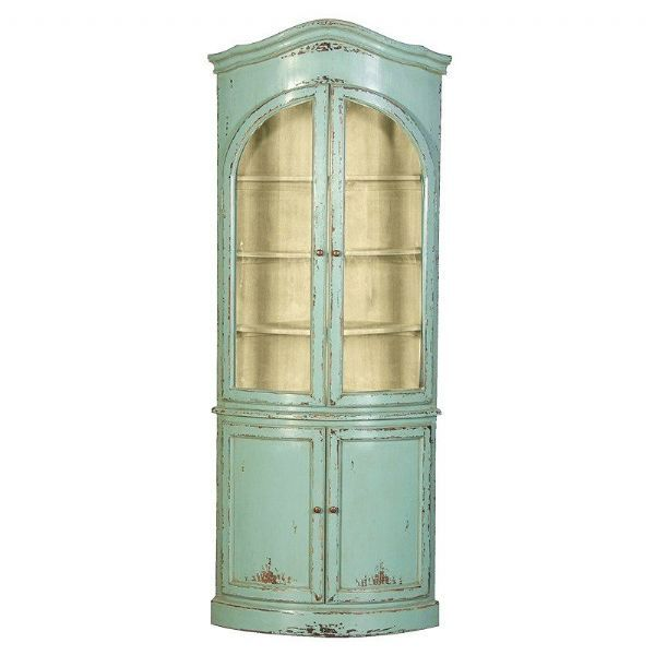 Etienne Large Glazed Painted Corner Display Cupboard Shabby Chic
