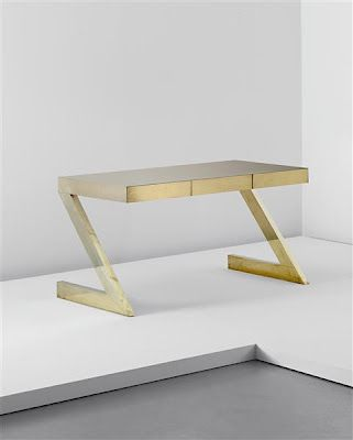 A glamorous brass Z desk by Gabriella Crespi.