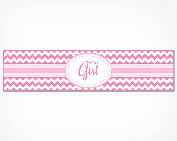 Pink Chevron Baby Shower Water Bottle Labels   Printable INSTANT DOWNLOAD    Itu0027s A Girl Water Bottle Wraps Decorations  Free Baby Shower Label Templates