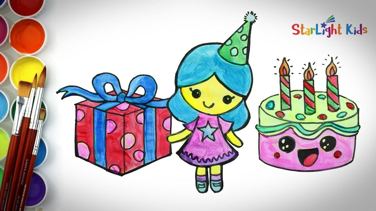 How To Draw Cute Girl Birthday Cake Coloring Painting For Kids