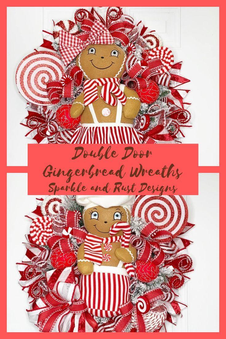 Double Door Christmas Gingerbread Wreaths, Christmas Candy Cane Wreaths, Double Door Holiday Wreaths, Candy Land Decor #doubledoorwreaths