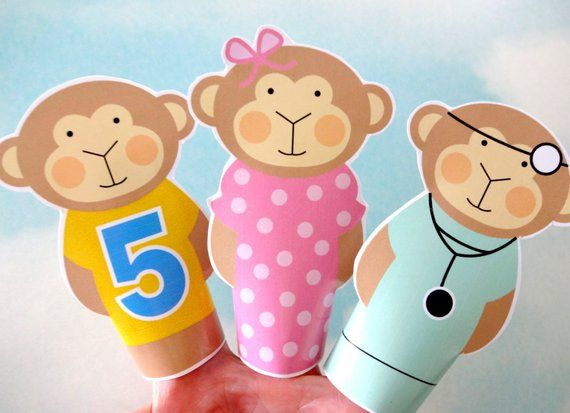 DIY Printable Finger Puppets - Five Little Monkeys Jumping on the