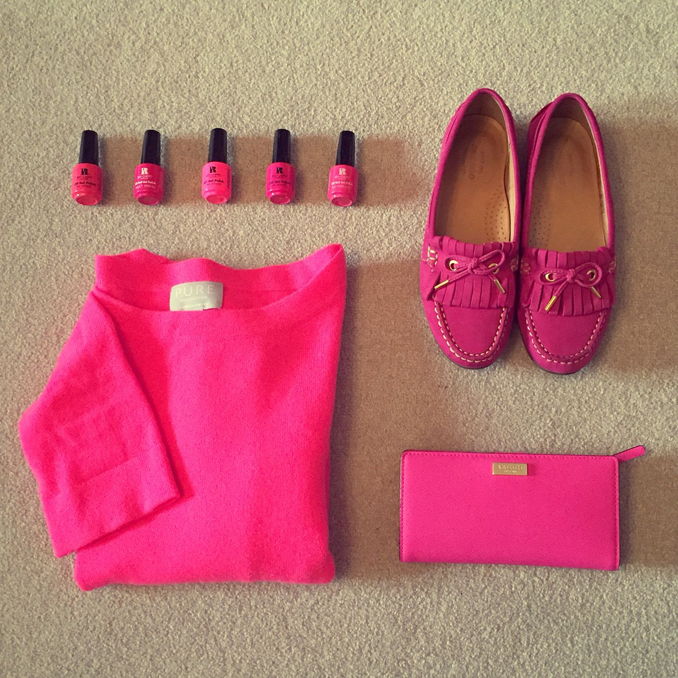 Pink style mood board. Pink shoes. Pink purse. Pink nail colours. Pink cashmere jumper