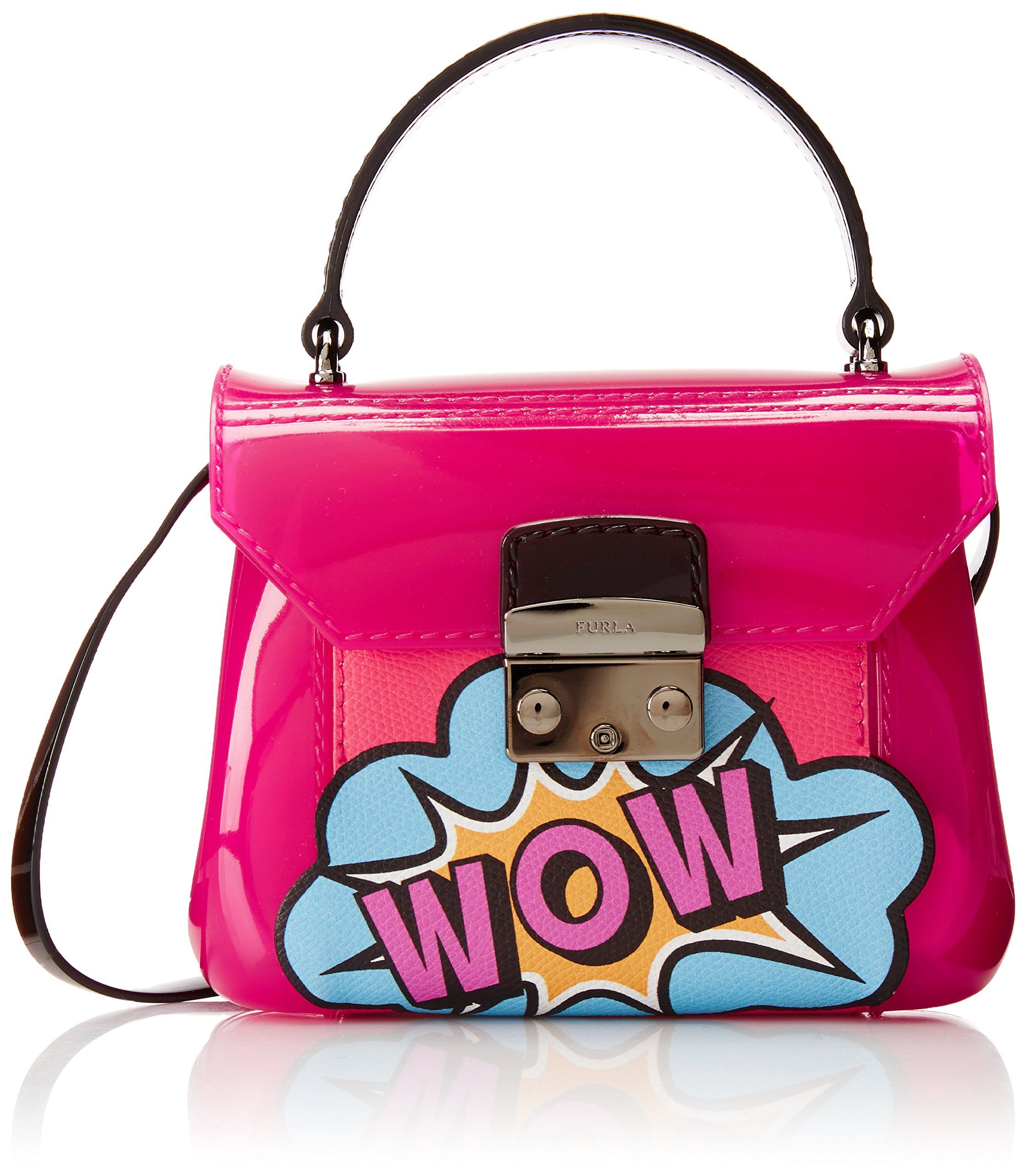 Furla Candy Bon Bon Mini Grafitti Cross Body Bag, Gloss/Hot Pink/Multicolor, One Size. Rubber. Height 5in / 13cm. Width 6.75in / 17cm. Depth 2.75in / 7cm.