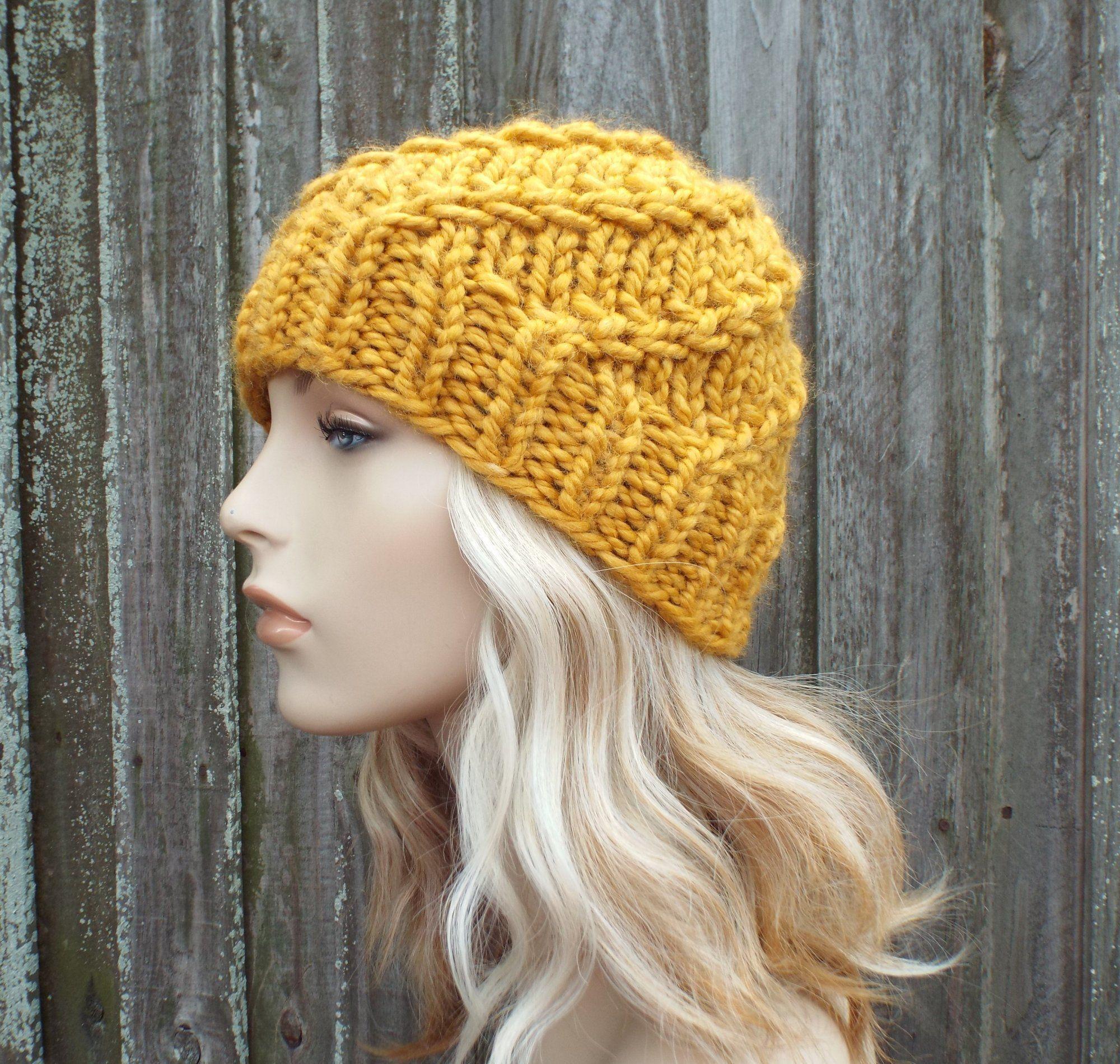 2bf82a3885de65 Mustard Beanie Chunky Knit Hat Womens Hat Mustard Mens Hat Mustard Spiral  Beanie Mustard Hat Mustard Beanie - Whirly Beanie - READY TO SHIP