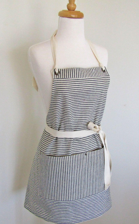 White apron tape - Full Hemp Cotton Indigo White Stripes Apron Twill Tape Grommets Rivets 32 00 Via Etsy