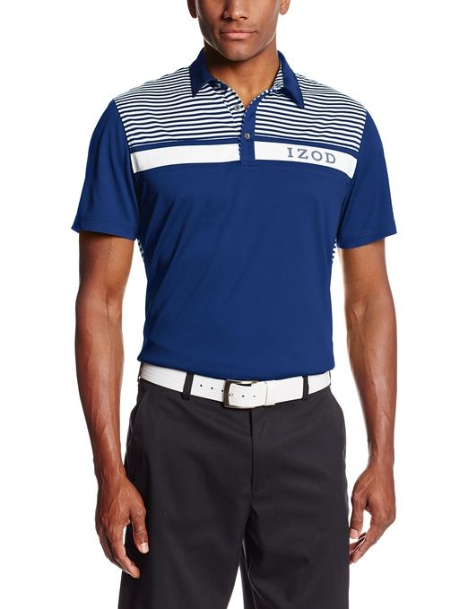 40d4ea1c8 This great value mens short sleeve chest striped pieced golf logo polo shirt  by Izod will ensure you look your very best when out on the course