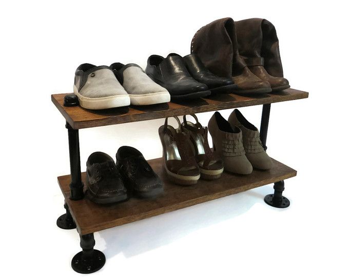 rustic wood shoe shelves with pipe stand legs