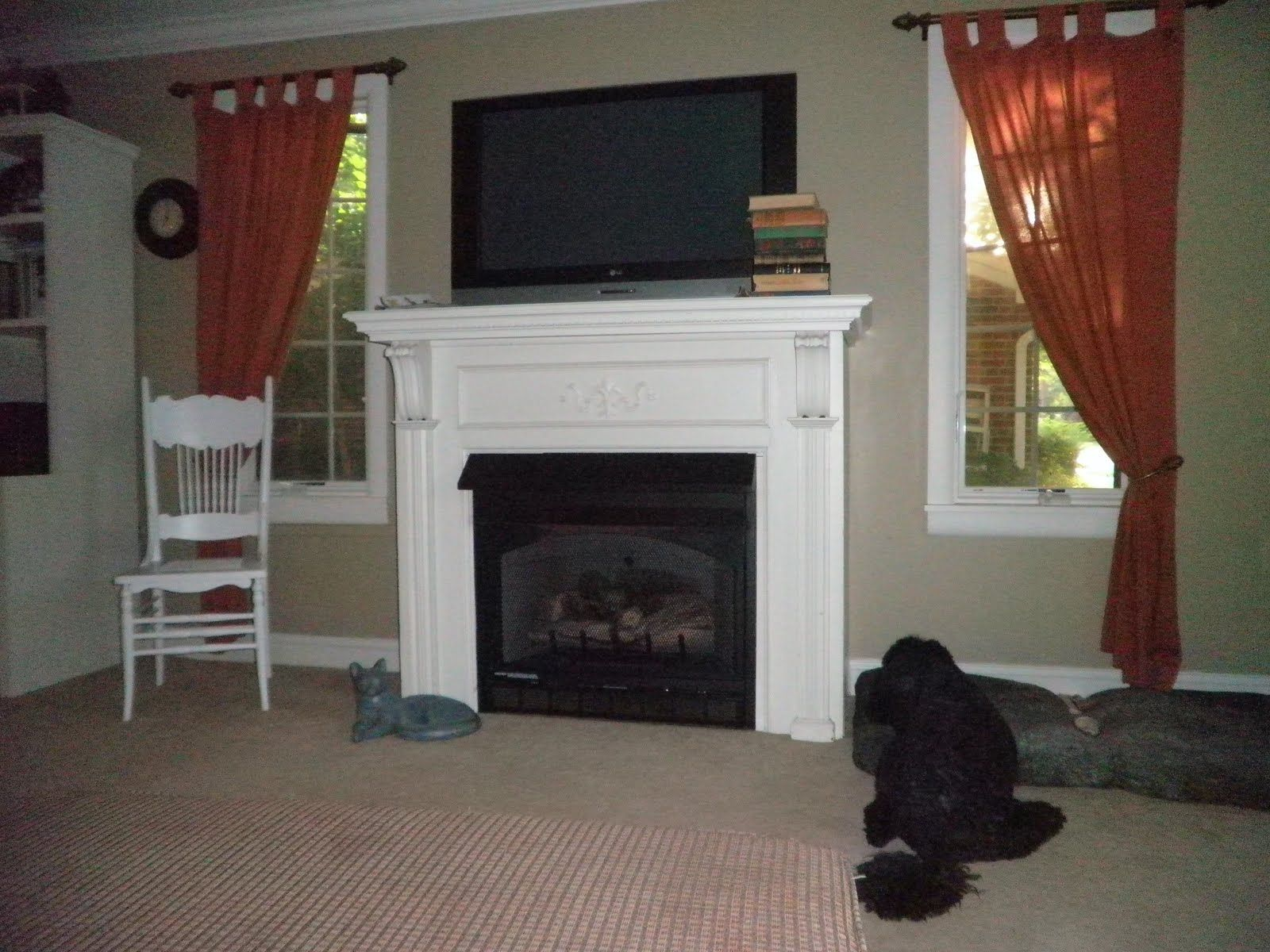 wood mantel white with glaze | Our Sears Kit Home: Fireplace Mantel