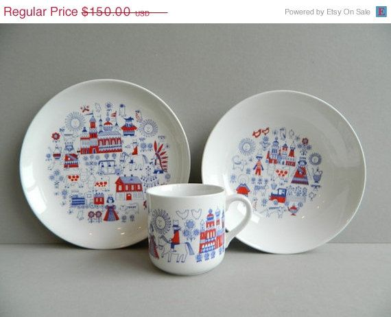 Arabia Finland Ceramic Matin Matka Childs Dish Set Plate Bowl Cup Red White and Blue | kitchen a go-go | Pinterest | Dish sets Finland and Bowls & Arabia Finland Ceramic Matin Matka Childs Dish Set Plate Bowl Cup ...
