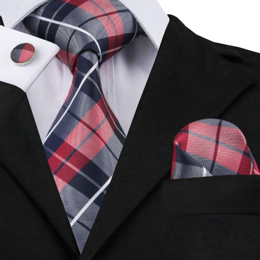 Hi-Tie Fashion 40 Styles Gravata Tie Hanky Cufflink Sets Silk Neckties Ties  for Mens Business Wedding Party