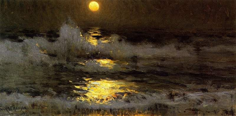 C'è una melodia nelle onde del mare  Moonlight on the Waters,  Frank Weston Benson Oil painting - https://t.co/kKnhQRsCjR